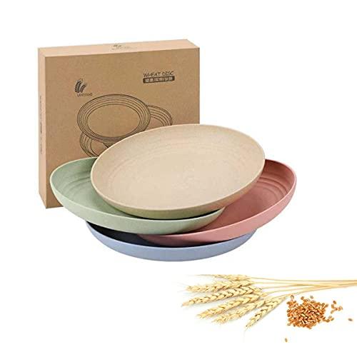 Zhongyi platos ,irrompibles y livianos, no tóxicos | Platos ligeros de paja de trigo | vajilla camping ,vajilla de cocina ,platos niños | de 9pulgadas(4 colores)