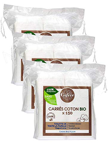 Carrés de Coton Bio 9 x 9cm 150 unités - (Gifrer) Lot de 3 x 150 Unités