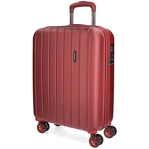 Movom Wood Maleta de cabina Rojo 40x55x20 cms Rígida ABS Cierre TSA 38L 3,2Kgs 4 Ruedas dobles Extensible Equipaje de Mano