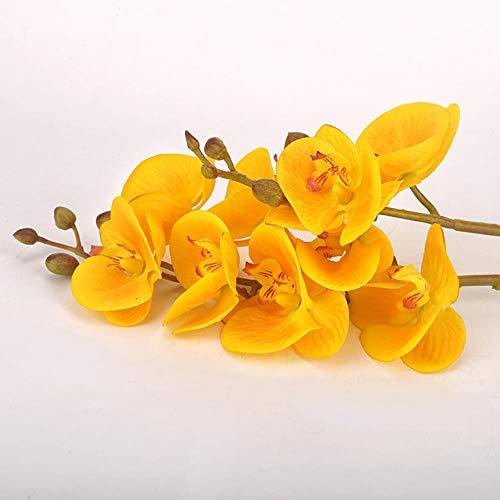 Miwaimao Double Handle Plastic 3d Printing Moisturizing Phalaenopsis Flowers Artificial Flowers European Home Decor Artificial Flowers Artificial Plants,Yellow