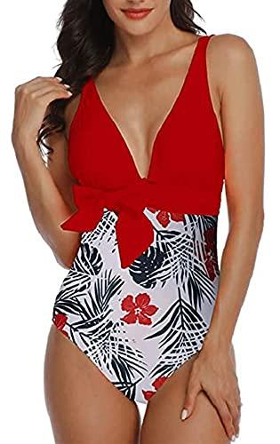 Davicher Costume da Bagno Interi Bikini V Profonda Bikini Brasiliana Flower Print Wire Free Costume Mare da Donna Intero Push up Costumi da Bagno Beachwear