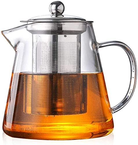 MWKLW Hervidor de Vidrio para el hogar, Tetera, Tetera de Acero Inoxidable de 750 ml, Resistente al Calor, de Vidrio Que se Puede Calentar con una Cocina de inducción y una Estufa de Gas