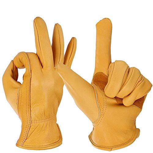 QHAI Rose Pruning Handschuhe, Herren Damen Wildleder Palm Handschuhe, strapazierfähiges Leder Sicherheit Arbeitshandschuhe für Garten, Hof, Mechaniker, Schweißen,S
