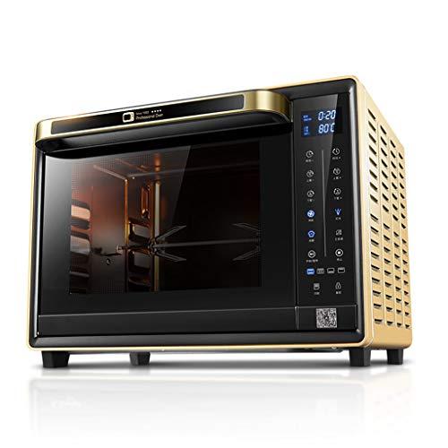32L Huishoudfornuis grill met 6 kookfuncties, elektrische temperatuurregeling en timer accessoires, met kinderbeveiliging 1600W (goud)
