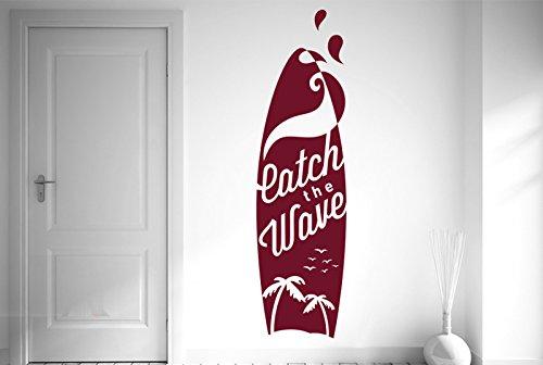 CUT IT OUT Wandtattoo, Surfbrett, Motiv Catch The Wave Surf, groß, 139 x 38 cm, Burgunderrot
