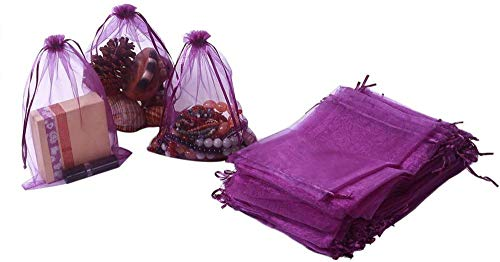 AOOA 100pcs Organza Bags 16.5 x 22.5cm, Purple Large Mesh Gift Drawstring Bags for Christmas Wedding Party Favors Jewelry