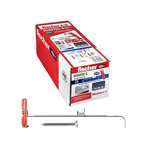 Fischer 540178 - Tacos para yeso Duotec 10 S con tornillo, fijación de ancla para cargas elevadas sobre paneles y placas, orificio de 10 mm, 25 unidades
