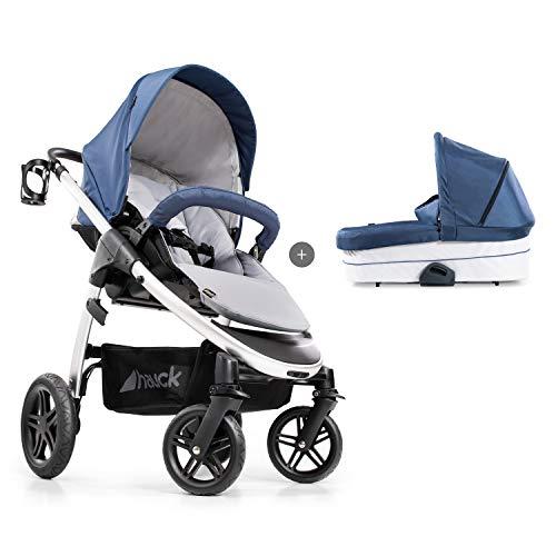 Hauck Saturn R Duoset All-Terrain Sportwagen + Beindecke + Babywanne, drehbar, bis 25 kg, Getränkehalter, höhenverstellbar, kompakt faltbar, kompatibel mit Babyschale, denim/silver