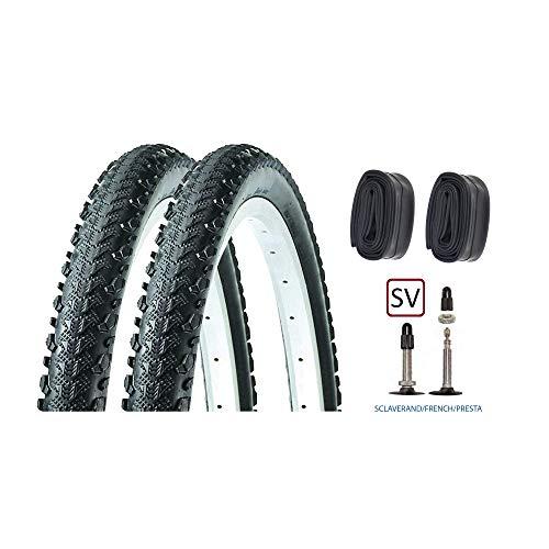 P4B | 2X 26 Zoll Fahrradreifen (50-559) mit SV Schläuchen | 26 x 2.00 | Sehr guter Grip Dank seitlicher Stollen