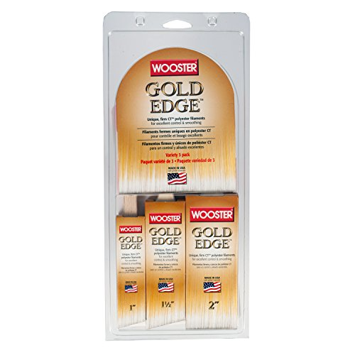 Wooster Series 5239 Gold Edge Wall Brush 3 Pack, 1 Inches