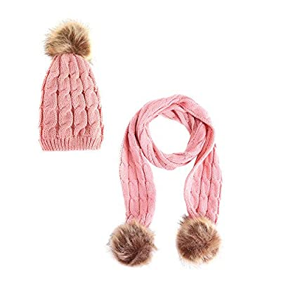 Indeals Children Winter Scarf+Caps Sets Kids Warm Crochet Beanie Knit Hat Shawl Suit