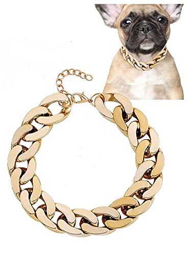 Gold Chain Dog Collar, Adjustable Cute Dog Collar Pet Gold Necklace Bulldog Light Metal Puppy Jewelry 17' Chain Puppy Costume