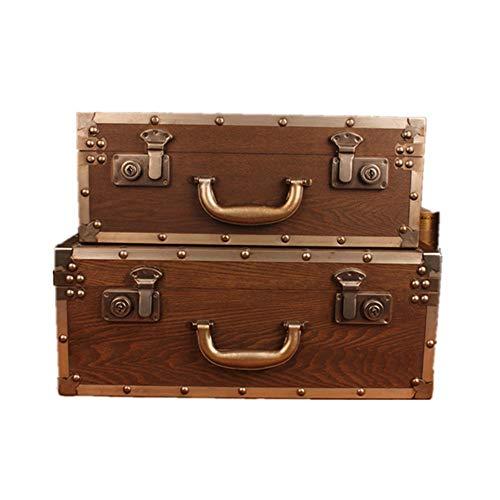 Maleta Retro Dormitorio Sala de Estar, Set de 2 Decorativo Maleta de Madera baúles de cofres Caja de la Caja con Asas (Brown) Equipaje (Color : Brown, Size : Large+Small)