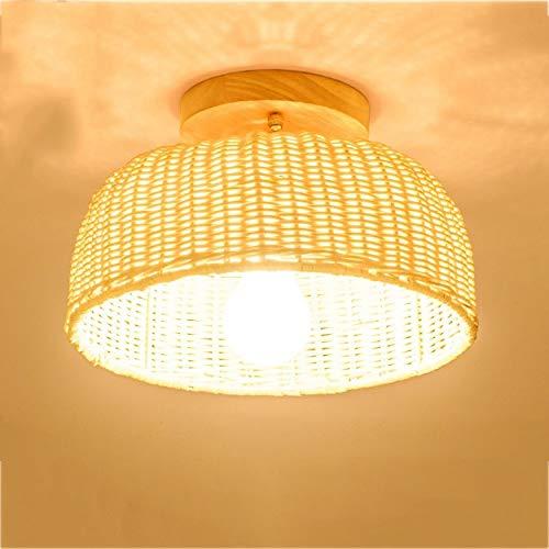 Pygjxdd hanglamp, retro, bamboe, handgeweven, mand, hanglamp, hanglamp, met licht