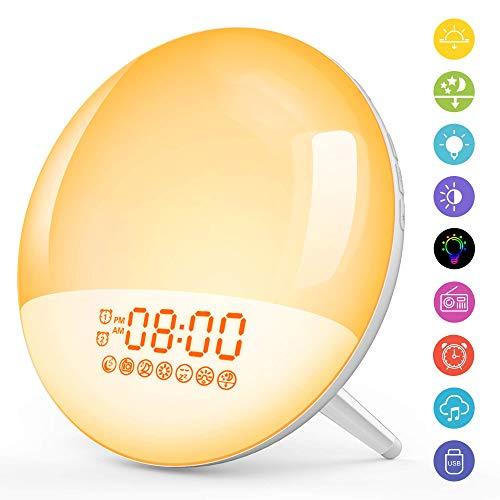 [Neu] Wake Up Light Lichtwecker mit USB Handy Ausgangsport Schlafhilfe LED Nachtlicht Kinder mit Sonnenaufgang&Sonnenuntergang/2 Alarme/Snooze/7 Wecktöne/FM Radio/20Helligkeit/16Volumen Einstellbar