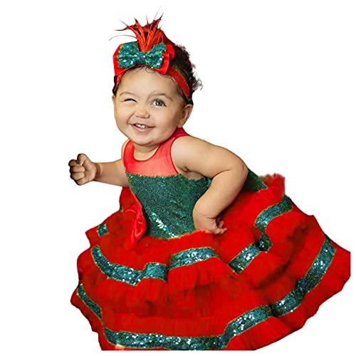 Weihnachten Kleid Mädchen Kinder Weihnachtskleid Party Prinzessin Kleid Pailletten Spitzenkleid Druckkleid Festliches Kleid A-line Swing Abendkleid Vintage Knielang Festkleid Abendkleid