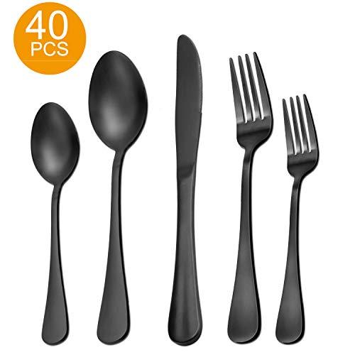 40 Pieces Matte Black Silverware Set Serve for 8, Stainless Steel Flatware Set Utensils Cutlery Tableware Set Including Steak Knife Fork and Spoon, Gift Package
