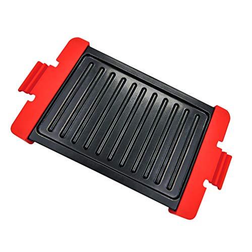 PIXNOR Microondas Grill Microondas Tocino Y Carne Parrilla Placa para Asar Hamburguesa Filete Pescado Pollo Rojo L