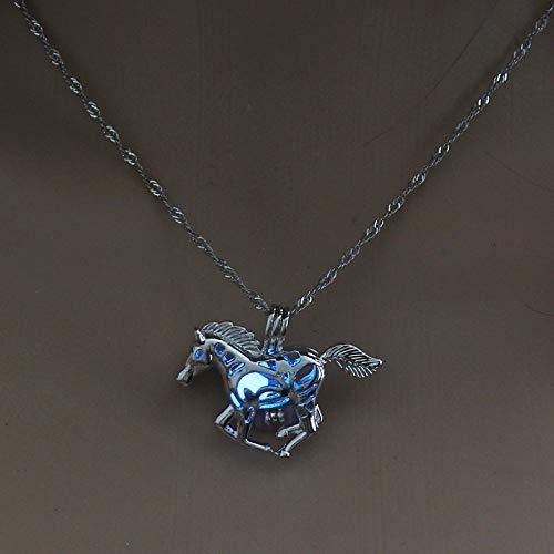TFOOD edelstenen halsketting voor dames, 7 chakra, blauw, lichtsteen, halve maan, paard, hanger, energie, weegschaal voor Moederdag, heren, geschenken