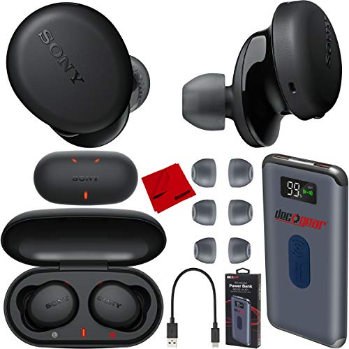 Sony WF-XB700 Truly Wireless Earbuds Headphones with Extra BASS and Built-in Microphone for Hands Free Calling - Black WF-XB700/B Charging Case Bundle Including Deco Gear Power Bank + Headphone Cloth