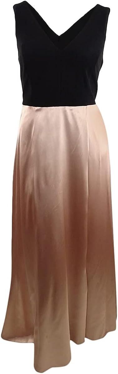 Betsy & Adam Women's Plus Size Tulip-Skirt Gown (18W, Black/Beige)
