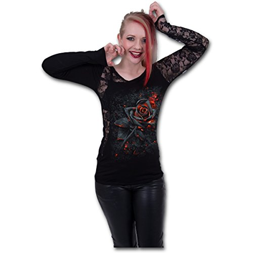 Spiral Direct Burnt Rose-Lace One Shoulder Top Camisa Manga Larga, Negro (Black 001), 48 (Talla del Fabricante: X-Large) para Mujer