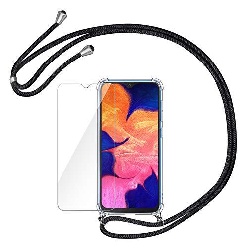 AROYI Funda con Cuerda para Samsung Galaxy A10 + Protector Pantalla, Carcasa Transparente TPU Silicona Case con Colgante Ajustable Collar Correa de Cuello Cordón para Samsung Galaxy A10, Negro
