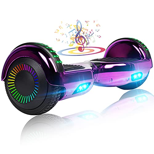 """UNI-SUN Chrome Hoverboard for Kids, 6.5"""" Two Wheel Electric Scooter, Self Balancing Hoverboard with Bluetooth and LED Lights for Adults, UL 2272 Certified Hover Board,Bluetooth Purple"""