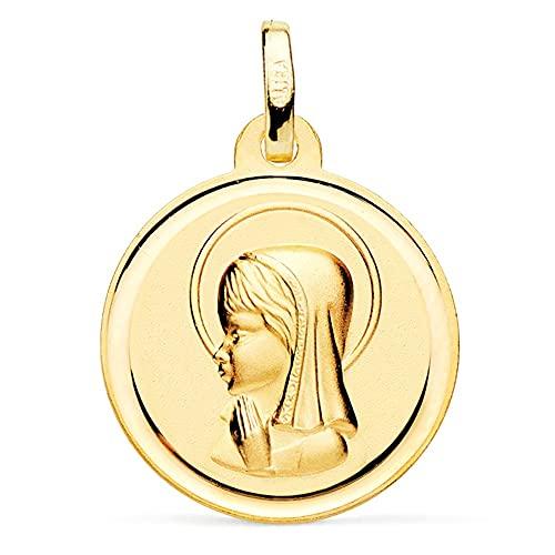 Virgin Mädchen 18k Goldmedaille 18mm. glatt Relief Detail Zaun rund - Anpassbare - AUFNAHME IN PREIS ENTHALTEN