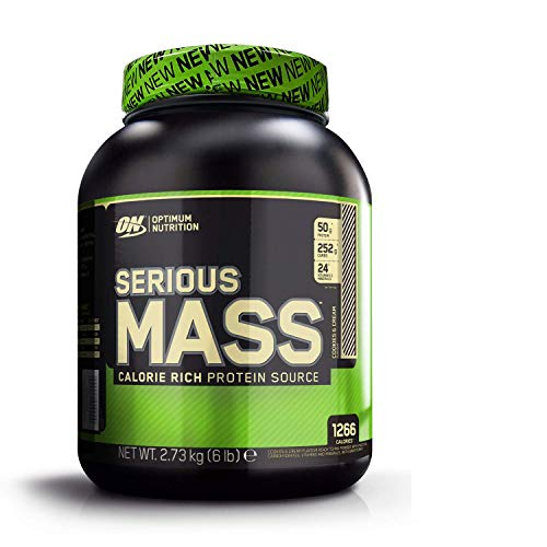 Optimum Nutrition ON Serious Mass proteina en polvo mass gainer alto en proteína, con vitaminas, creatina y glutamina, galletas y crema, 8 porciones, 2.73 kg