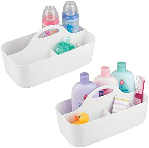 mDesign Plastic Portable Nursery Storage Organizer Caddy Tote Divided Basket Bin with Handle product image
