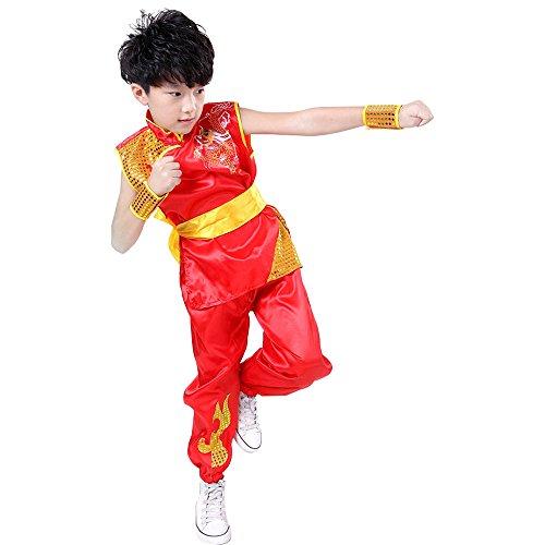 XFentech Traje de Kung Fu de Unisex Sin Mangas/Manga Corta con patrón de dragón Artes Marciales Chino Tradicional Disfraces