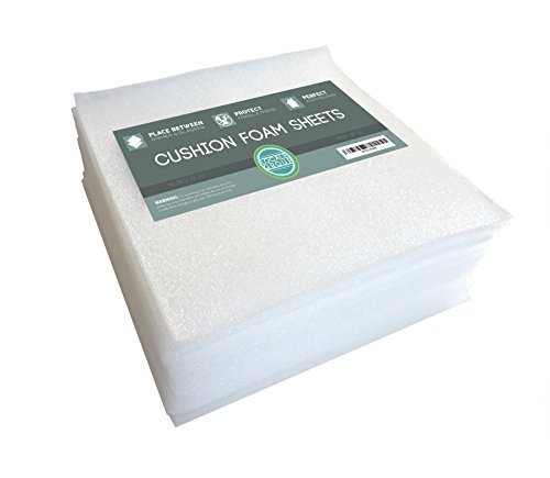 """Cushion Foam Sheets 12"""" X 12"""" (50 Count), Packing Cushioning Supplies for Moving, Shipping, Mailing, Safely Wrap Dishes, Wine Glasses, China, and Furniture, Protecting Fragile Items, (Pack of 50) (50)"""