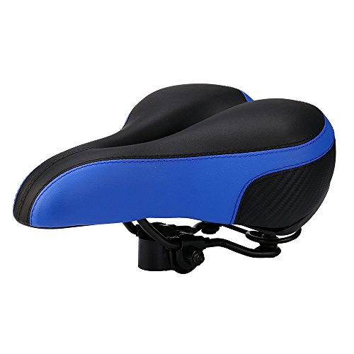 Rmeioel Universal Comfortable Waterproof Soft Padded Bike Seat - Replacement Bicycle Saddle -Premium Materials Center Cutout Fit Best for Exercise Outdoor Bicycles Mountain Bikes, Road Bikes (Blue)