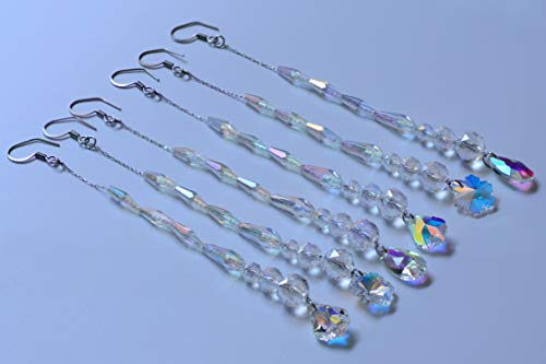 Chandelier Crystal Ornaments Hanging Crystal Pendant Beads Garland for Christmas,Wedding,Home Decoration -6Pcs