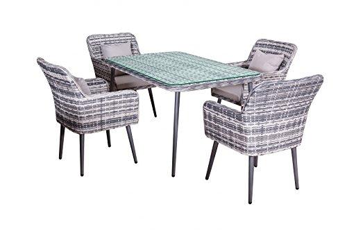 Comedor de jardín Lima en gris poliratan poli-mimbre muebles de jardín moderno 4 sillas + mesa de 1,5m aluminio