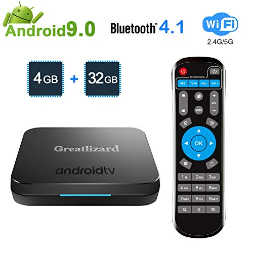 Greatlizard KM9 TV Box Android 9.0 4GB RAM DDR4 32GB ROM BT4.1 Dual WiFi 2.4G+5G Quad Core 4K 3D Smart TV Media Box