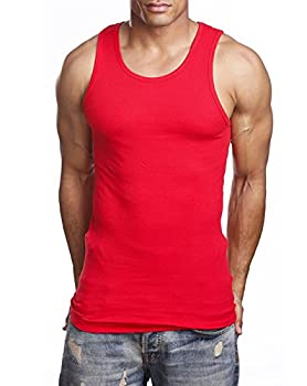 Men s A-Shirt Muscle Tank Top Gym Work Out Super Thick 3 PACK  3X-Large Red