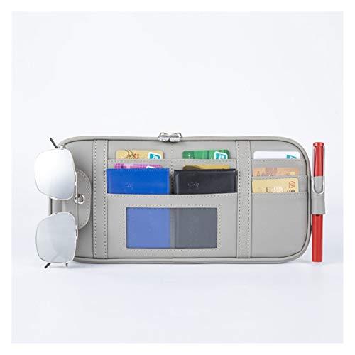HUAER Bolsa de almacenamiento para parasol de coche, multifuncional, organizador de visera de coche, bolsa de sol, soporte de almacenamiento de boletos (nombre del color: gris)
