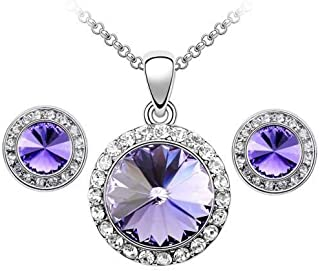 Swarovski Elements 18K White Gold Plated Jewelry Set Encrusted With Purple Swarovski Crystals and Matching Earrings, SWR-462