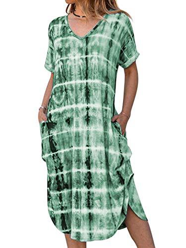 Abtel Batik-Sommerkleider für Damen, lässig, Boho-Strandkleid, Midi, Maxi, Lang, Kurzarm, V-Ausschnitt Gr. Medium, grün