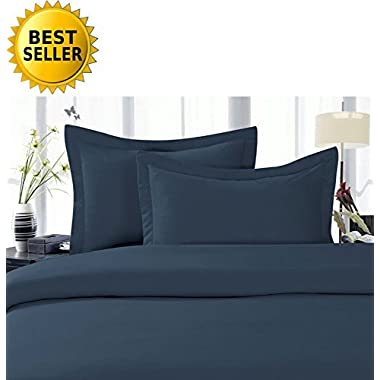 Celine LinenBest, Softest, Coziest Duvet Cover Ever! 1500 Thread Count Egyptian Quality Luxury Super Soft WRINKLE FREE 3-Piece Duvet Cover Set, Full/Queen, Navy Blue