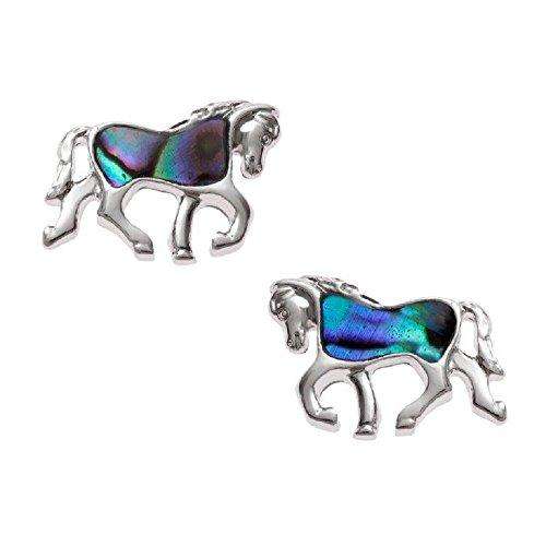Mirabella Bellamira abalone cavallo argento collana o orecchini (scelto) intarsiato con naturale paua, in confezione regalo e placcato Argento, colore: Blues and Greens, cod. HORSE-ERNGS/FBA