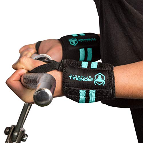 Women Wrist Wraps with Thumb Loops - 12' Professional Grade - Wrist Support Brace and Compression for Cross Training, Weight Lifting, Powerlifting, Strength Training (Black/Mint)