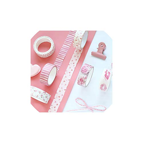 8 Pcs Pink Color Masking Tape Set 15Mm Paper Washi tape Stickers Decoration Scrapbooking Letter Album Stationery,As Picture