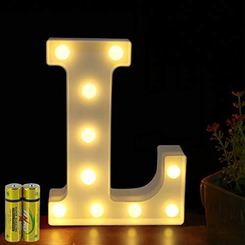 HONPHIER® Buchstaben Lichter Alphabet Lampe LED Brief Beleuchtung Buchstabe Licht Beleuchtete Buchstaben Nachtlichter Dekoration für Geburtstag Party Hochzeit Kinderzimmer (L)