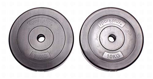 Sportplus - Lot de Poids pour Haltères - En Forme de Disques - Total 20 kg - 2 x 10 kg - Revêtement anti Rayures - Remplies de Béton