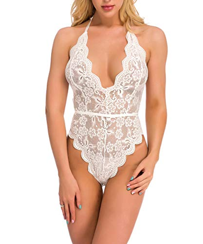 ShinyStar Body Damen Sexy Dessous Spitze Bodysuit Reizwäsche Lingerie Unterwäsche Oberteile Babydoll mit Tiefer V-Ausschnitt Weiß M