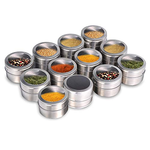Beeyoka Magnetic Spice Jars,12 Pcs Stainless Steel Spice Tins with Lid and Small Holes for Sprinkle Rust Free Easy to Clean Includes 94 Labeling Stickers
