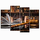 Nachic Wall 4 Piece Canvas Prints Wall Art Wooden Gavel Law Book Paiting for Lawyer Office Decor Study Room Decoration Justice Concept Poster Stretched Gallery Canvas Wrap Giclee Print Ready to Hang